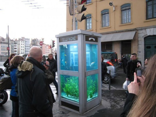 superuse, recycled design, green designs, recycled materials, DIY ideas, DIY with recycled materials, superuse.org, recycled designs, aquarium phone booth