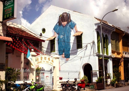 Ernest Zacharevic, malaysia street art, interactive street art, public artwork, street art, sustainable art, green art