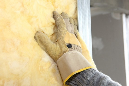 insulation, changing insulation, yellow insulation, installing insulation
