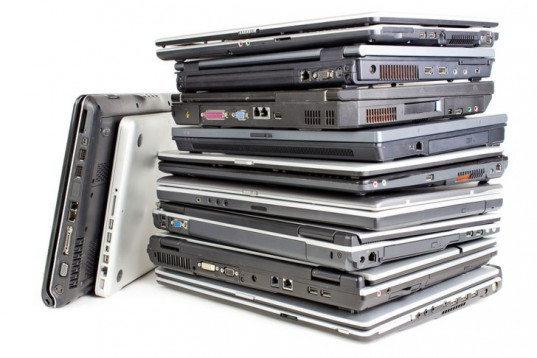 laptops, laptop computers, notebooks, notebook computers, pile of computers, refurbished computers, recycled computers