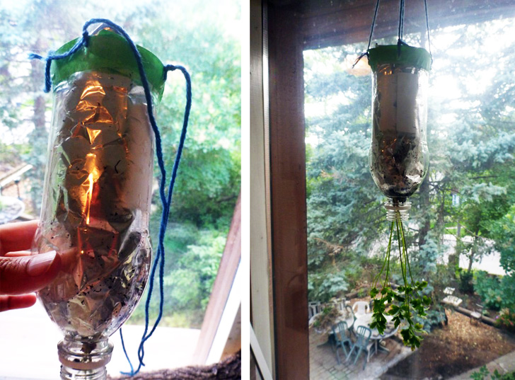 How to make a hanging planter with a recycled plastic for What is soil made out of