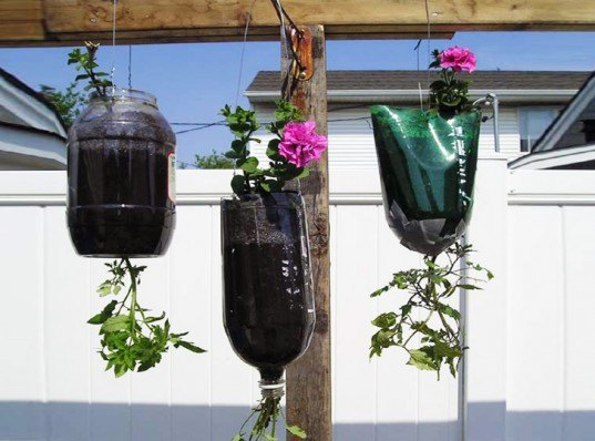 bottle planters, recycled bottle planters, hanging planters, diy planters, how to make a bottle planter, soda bottle planter, recycled materials, green gardening, eco gardening