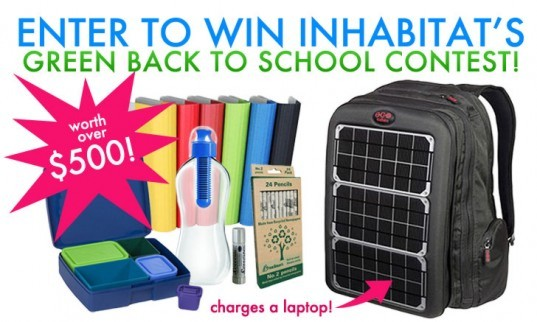 inhabitat back to school giveaway, inhabitat giveaway, back to school giveaway, back to school contest, free stuff back to school, green back to school, green giveaway, eco friendly back to school, back to school contests