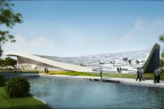 Beijing Green Visitor Center, JDS Architects, eco visitor center, beijing, photovoltaics, undulating roof, welcome center