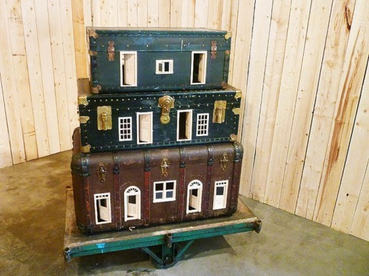 green design, eco design, sustainable design, recycle art, eco art, upcycled suitcases, Bo Christian Larsson, found objects, recycled sculptures