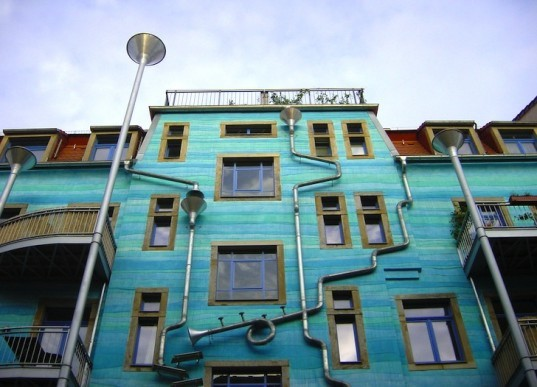 Annette Paul, Christopher Rossner, Andre Temple, Court of Water, Kunsthof Passage Dresden, Germany, downspouts, rainwater