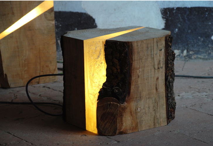Marco Stefanelli's Salvaged Wood Brecce Lamps are Embedded With LED Lights  Salvaged Wood Brecce LED Lights by Marco Stefanelli  Inhabitat - Green  Design, ...