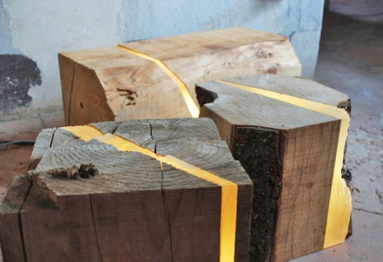 log stool, log lamp, led lamp, the Boxers Design, Italian led lamp, salvaged lamp