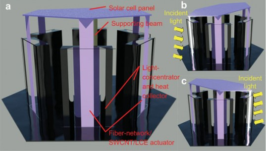 concentration solar power, university of wisconsin-madison, sunflower, solar power, solar energy, solar tracking system, biomimicry, fermat's spiral, heliotropism, Hongrui Jiang, carbon nanotubes,