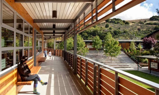 Marin Country Day School, California, Zero Energy, LEED Platinum, Classroom Building, Merit Award, AIA California Council , sustainable, stack ventilation, radiant cooling, solar power, photovoltaic