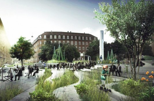 Sankt Kjeld's Kvarter, Saint Kjeld's Quarter, Copenhagen Denmark, urban planning, water reclamation, Tredje Natur Architects, global warming