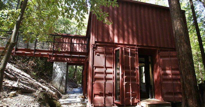 Six oaks shipping container home by modulus in california for Cheapest house foundation