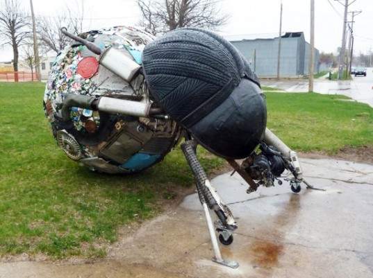 Cedar Rapids, Kinetic Sculpture, Student Art, Salvaged Metal, Recycled Steel, Reused Tires, Iowa Eco Festival, Mercy University