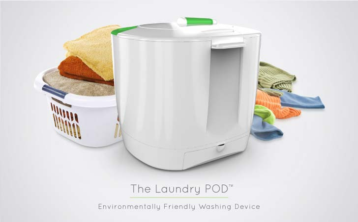 the laundry pod, human powered, electricity free, efficient, washer, spin dry, hand crank, environmentally friendly