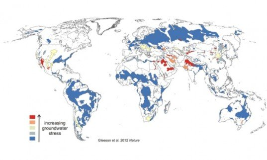 world map, groundwater use, hydrologic model, agricultural production, water stress