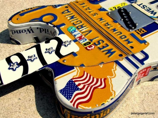 art, design, sculpture, recycling, upcycling, guitar, music, Peter Geiger, license plates, license tags, country music, Brad Paisley, Rascal Flatts