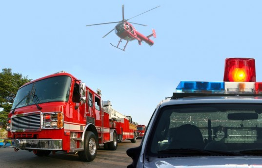 fire department response, fire truck, cop car, emergency helicopter