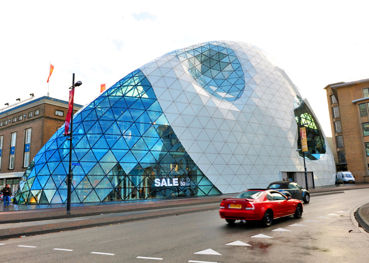 Eindhovens Futuristic Blob Building Hides 1700 Bikes In Its Belly