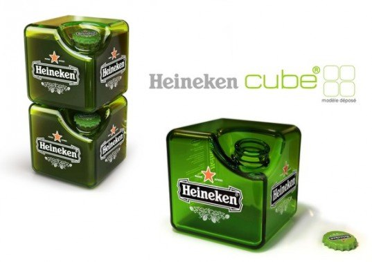 Heineken, Heineken cube, beer bottle, square beer bottle, Petit Romain, packaging design