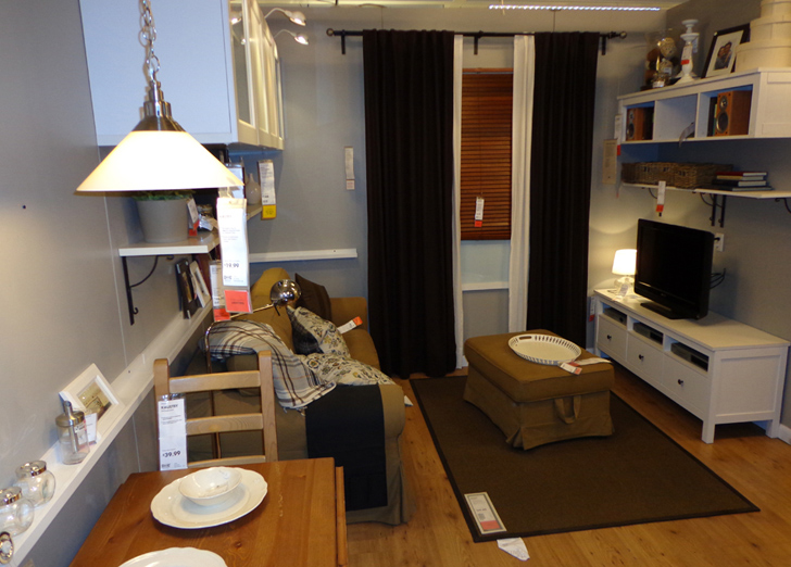 Photos see inside ikea brooklyn 39 s tiny 391 sq ft model for Living in a model apartment