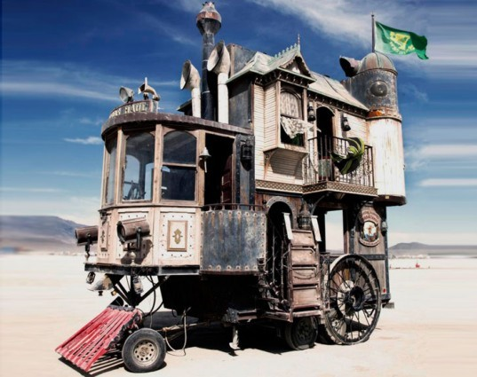 Burning Man, moving sculptures, recycled art, recycled art cars, Neverwas Haul, steampunk, locomotive, steamship,  Shannon O'Hare, recycled sculptures, recycled materials