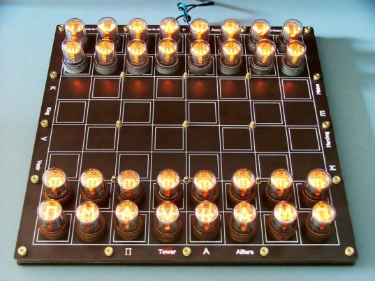 nixie chess, recycled, vintage, nixie tube, chessboard, chess, lasermad, tony, sustainable design, green design, recycled materials, green lighting