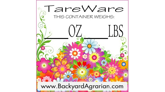 TareWare, labels, packaging, unpackaging, bulk, food, backyard agrarian, recycling