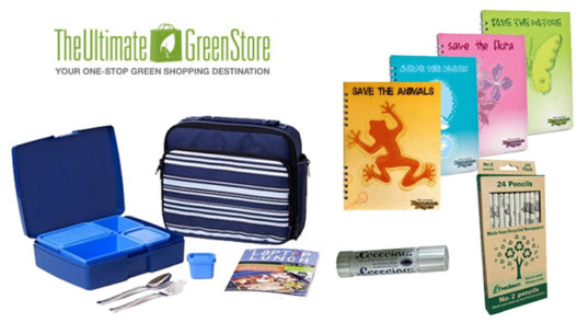 the ultimate green store, the ultimate green store supplies, eco school supplies, laptop lunch box, eco pens, eco pencils, eco notebooks, Laptop Lunchboxes, bento box, banana paper notebooks, recycled notebooks, coccoina non toxic glue stick, recycled newspaper pencils