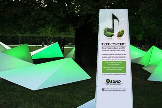 Eco design, Green Design, Sustainable design, Tree Concert, Berlin, Federal Environmental and Nature Conservation, BUND, BBDO Proximity Berlin, Gang of Berlin, Ketchum Pleon PR, LED Installation, Fernsehturn, interactive art installation