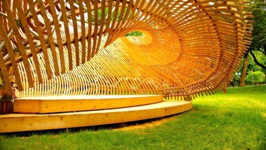 architecture, parametric design, mobius strip, moire lattice, pavilion, ContemPLAY, Montreal, Canada, local materials, digital design, green design, sustainable design, eco-design, McGill University