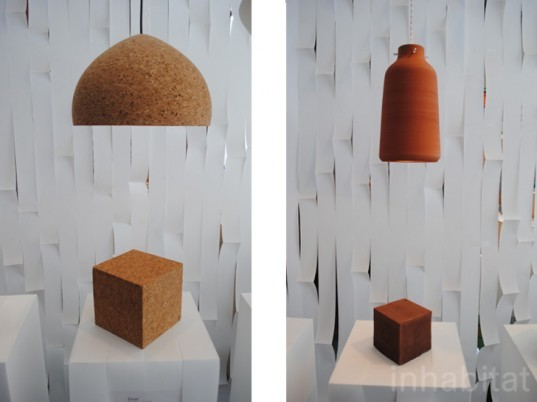 london design festival, design junction, the tramshed, eco designs, lamp design, lighting, cork lamp, clay lamp, natural materials,