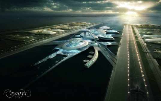 floating airport, architecture, design, London, Heathrow Airport, London Britannia Airport, Thames River