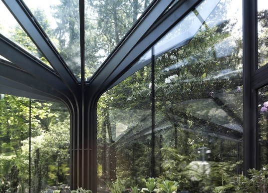 greenhouse, nature, cell division, biomimicry, green design, sustainable design, Gruningen Botanical Garden, Switzerland, north, subtropical plants