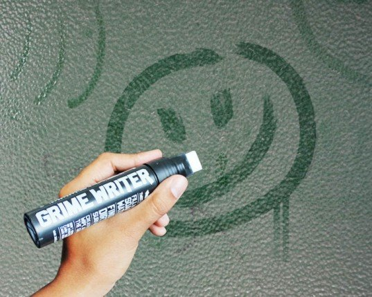 environmental art, green design, eco design, sustainable design, Grime Writer, reverse graffiti, negative graffiti, tagging, eco tagging, eco graffiti, street art, clean marker, eco art