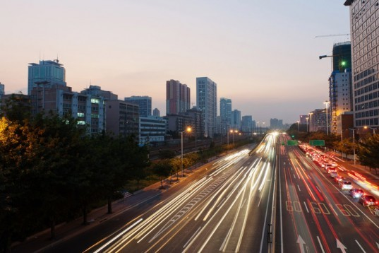 Guangzhou highway, long exposure, roadway, streaming lights, sunset, traffic