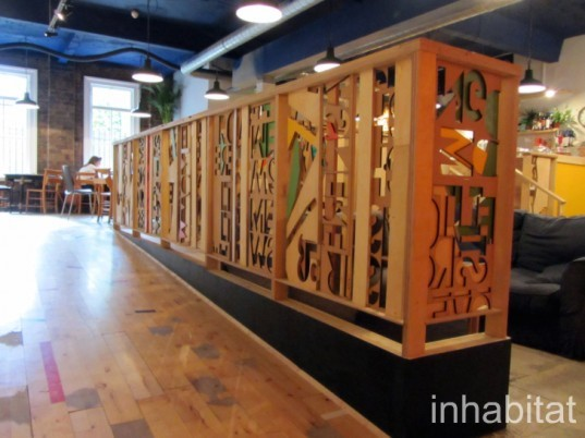 The Glad cafe, Glasgow, southside, 2012, green design, maklab, laser cutting, banisters, recyling