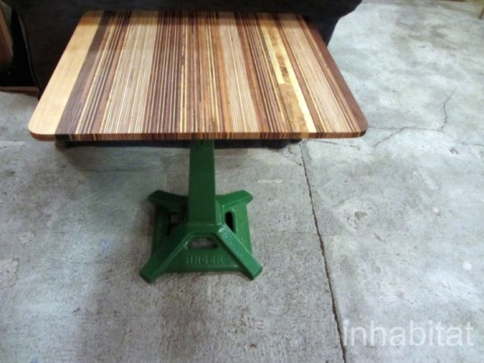 afé has a selection of old recycled chairs and tables, which include church seating  and school chairs.