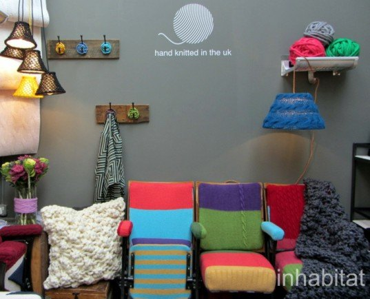Melanie Porter, Tent, London, 2012, london design festival, chunky knit, recycled furniture