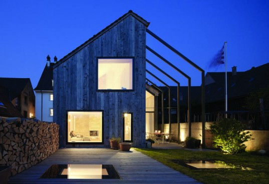Oppenheim Architecture + Design, Huesler Architekten, MINERGIE, adaptive reuse of old farm house, ultra-modern remodel, live-work in farmhouse office and new residence, solar panels on roof, florida architecture firm office in switzerland