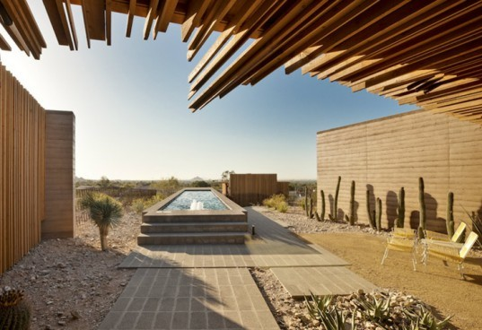 earthen walls, contemporary earth home, rammed earth, Arizona green home,