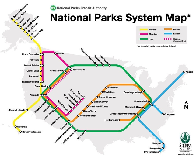 Sierra Club Draws a Subway Map of Americas National Parks