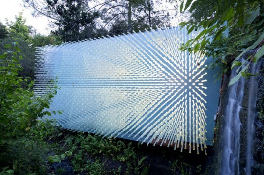 SOL Grotto, Rael San Fratello Architects, uc botanical gardens at berkeley, grotto, solyndra, reclaimed materials, glass rods