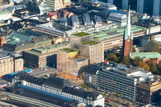 Stockholm City Station, 3XN, stockholm, mixed use development, green roof, train station