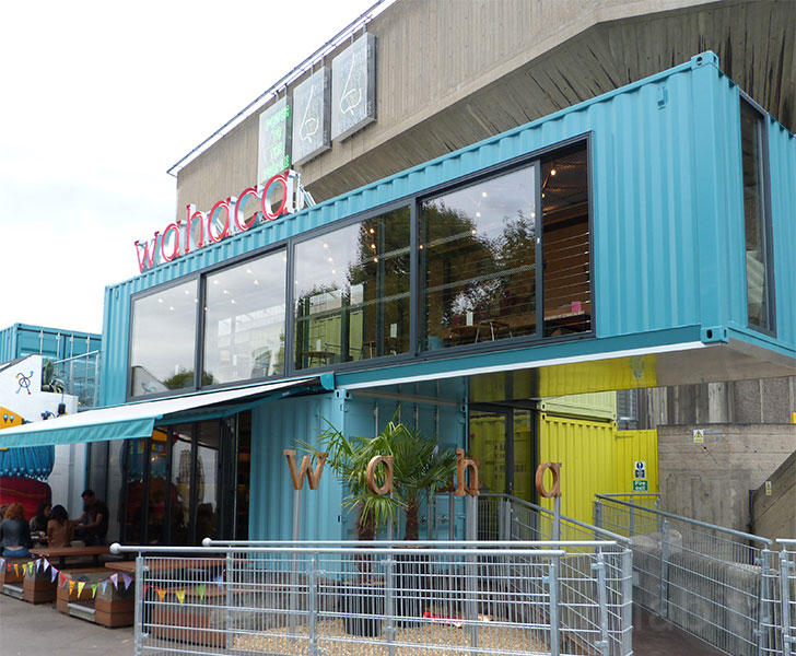 wahaca shipping container restaurant in london s southbank. Black Bedroom Furniture Sets. Home Design Ideas