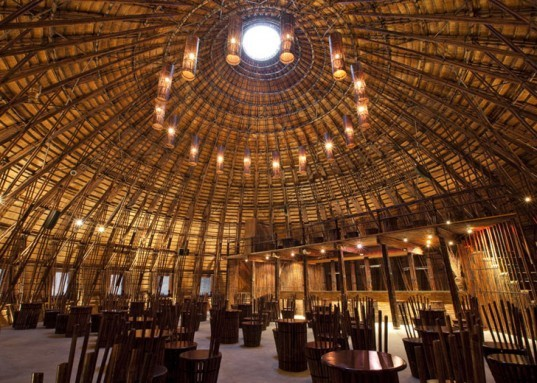 Wind and Water Bar, Vo Trong Nghia, Vietnam architecture, Vietnamese vernacular architecture, prefab building, bamboo architecture, bamboo dome, sustainable building, green materials