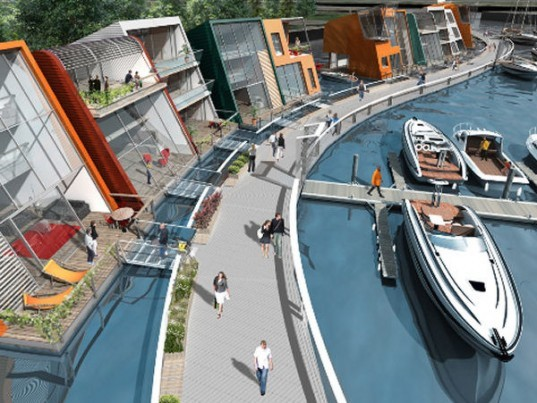 baca architects, zm architecture, canting basin, glasgow scotland, floating village, floating houses, riverr clyde