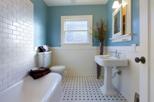 bathroom with window, bathroom, blue bathroom, classic bathroom