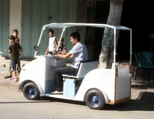Munther al-Qassas, gaza city, gaza strip, electric vehicle, electric car, electric taxi, renewable energy, recycled materials, DIY, recycling, solar energy, lithium ion batteries, battery charging