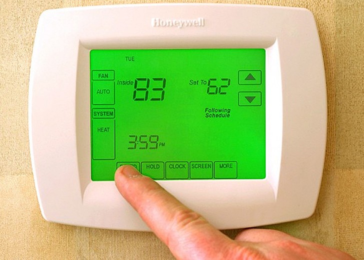 Programmable Thermostat Programmable thermostatsare intelligent devices that give you control over your house's temperature and energy usage. These relatively inexpensive units allow you to easily view or even adjust your thermostat remotely, meaning you can time when your AC or heating goes on and off, cutting down on wasted energy (like when you're sleeping or on vacation) and making your home an overall more comfortable place to live. The customizable setting buttons also allow you to