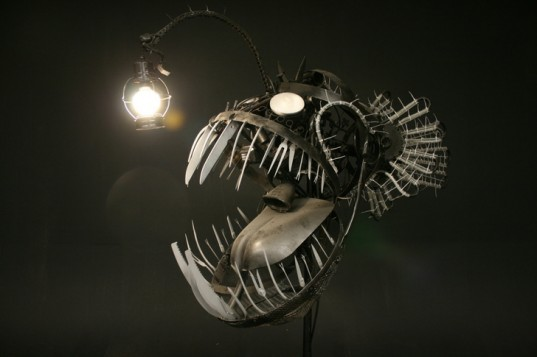 Deep Sea Angler Fish Lamp Justin La Doux, biomimicry, green lamp design, recycled materials, LED lighting
